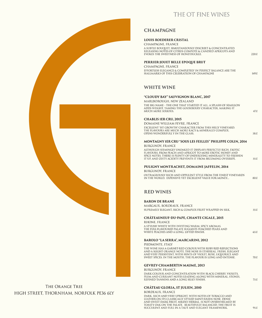 The Orange Tree, Norfolk Restaurant Menu